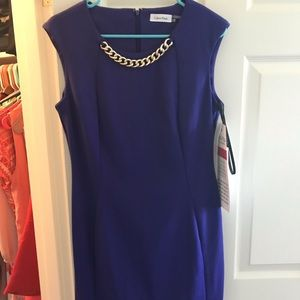 Royal Blue Calvin Klein Dress with gold necklace